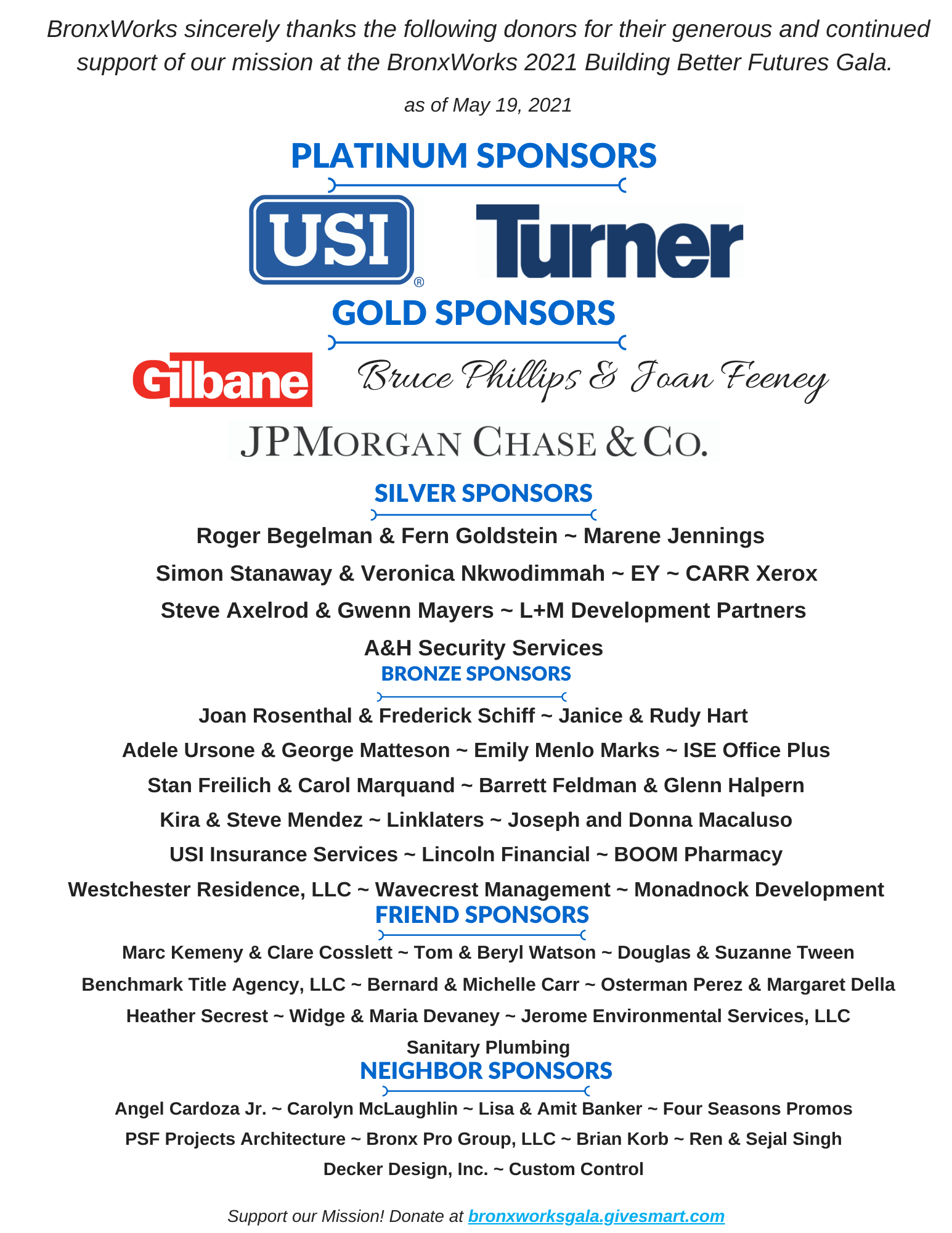 List of sponsors for the 2021 Building Better Futures Gala