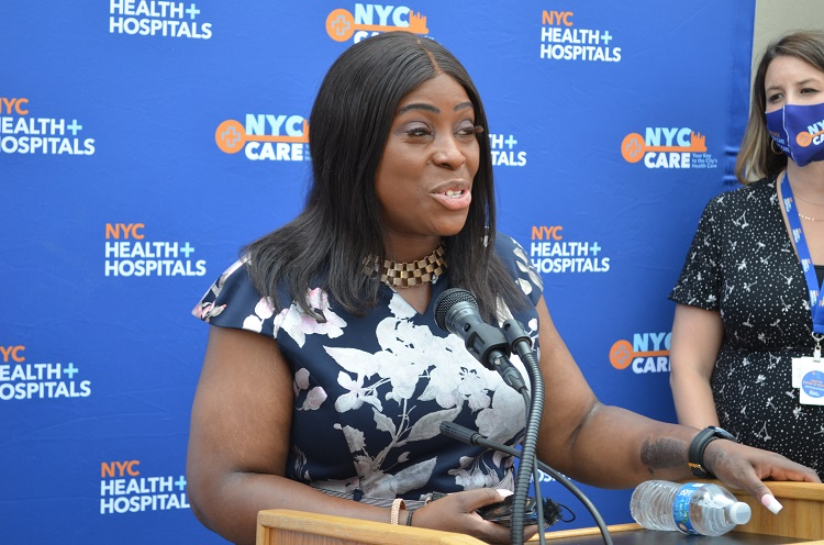 City Council Member Vanessa Gibson Speaking at NYC Care 2-Year Anniversary Event